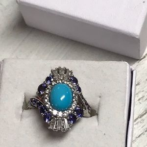 925 sterling silver Turquoise/Tanzanite ring Sz 6